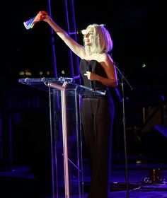 Pic of #lady_gaga speaking on America's Gay Pride earlier today !!