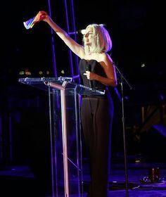 Pic of #lady_gaga speaking on America's Gay Pride earlier today !!