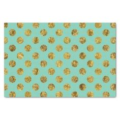 """Gold Glam and mint Dots 10"""" X 15"""" Tissue Paper"""