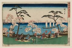 """Utagawa Hiroshige I歌川広重 """"Amusements at Goten-yama"""" from the series """"Famous Places in the Eastern Capital, """" about 「東都名所 御殿山遊興」 Woodblock print (nishiki-e); ink and color on paper Japanese Artwork, Japanese Painting, Japanese Prints, Japanese Aesthetic, Famous Places, Japan Art, Museum Of Fine Arts, Woodblock Print, Vintage Japanese"""