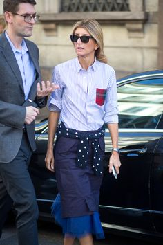 This is a chic, but unexpected combination of clothing! I like the idea of tulle under a pencil skirt and a striped shirt! Sarah Rutson   - HarpersBAZAAR.com