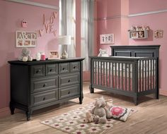 New Crib Dresser Grey Nursery Furniture Baby Sets Cottage