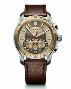 Best Victorinox Swiss Army Mens Chrono Classic Watches Gold for Cyber Monday deals 2015 at Nordstrom Swiss Watches For Men, Affordable Watches, Victorinox Swiss Army, Bracelet Cuir, Bracelet Watch, Classic Leather, Brown Leather, Cool Watches, Men's Watches