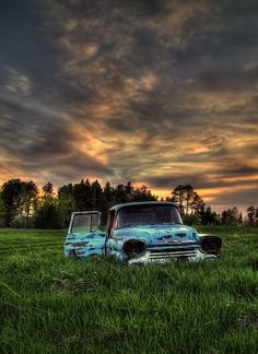 ♂ Aged with beauty - abandoned old rusty blue truck sunset green grass field