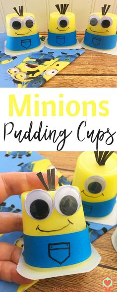 Great after school or summer snack for kids - DIY Minions Pudding Cups Craft Activities, Toddler Activities, Summer Activities, School Snacks For Kids, School Kids, Pre School, Minions, Easy Crafts, Crafts For Kids