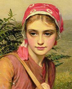 "Charles Sillem Lidderdale, ""The Fern Gatherer"", detail.  Gorgeous face."