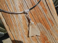 Sea Glass White Pendant with Filigree Bell Cap and by Deesshoppe, $15.00