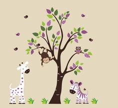 Purple Polka Dot Tree & Animals Wall Mural Sticker