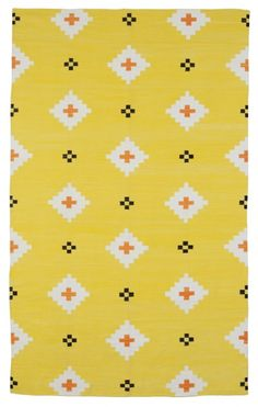 rug company, udaipur yellow, flatweave dhurries and kilims Pattern Texture, Surface Pattern, Pattern Art, Pattern Design, Black Pattern, Yellow Pattern, Textiles, Textile Patterns, Textile Prints