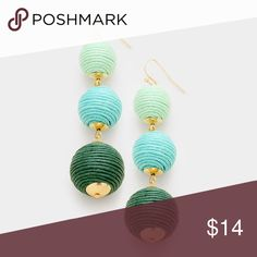 "Green ombré triple thread ball drop dangle earring • Awesome for spring! • Color : Gold, Teal  • Size : 0.8"" X 3"" • Fish Hook Back • Triple thread ball earrings Jewelry Earrings"