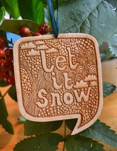 Let+it+Snow+wooden+Christmas+decoration+by+gabiReith+on+Etsy,+£6.00