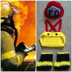 Crochet Fireman Outfit by Potterfreakg on Etsy