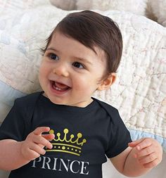 Baby prince onesies, clothes and baby boy prince nursery decorating ideas. Boy Onesie, Onesies, Nursery Themes, Nursery Decor, Prince Nursery, Baby Prince, Baby Boy Nurseries, Maternity, Cricut