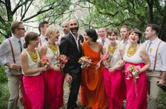 love the bright orange wedding dress. so much fun in this wedding.
