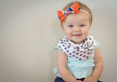 White, Navy Blue, and Orange Floral Infinity Scarf - Baby, Toddler, Child - One Size Fits Most - Matching Bow Headband Option!