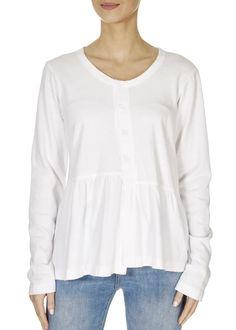 White fleece peplum button down top - Jessimara White Cotton Blouse, Cotton Blouses, Henley Top, Long Sleeve Tops, Peplum, Tunic Tops, London, Hoodies, Clothing