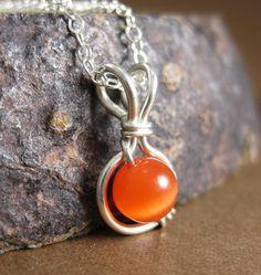 Tangerine Orange Cat's Eye O Loop Pendant Necklace by holmescraft