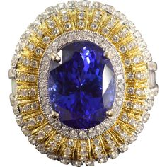 15.8 CTTW Portugese Tanzanite Diamond Ring Custom Cast Designer Mounting 18K Yellow & White Gold