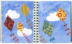 Flying Kites Journal Page. Studying weather? Try pattern paper collage over watercolor skies. #artprojectsforkids