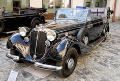Horch 951A Gläser Pullman cabriolet (1938) ~~~~~ Only three such representative cars have been made, and served high Nazi prominents: Generalfeldmarschall Friedrich Paulus, Gauleiter Konrad Henlein and SS-Obergruppenführer Karl Hermann Frank. This car is the only known survivor and served K.H.Frank in his role as deputy protector of the Protectorate of Bohemia and Moravia.