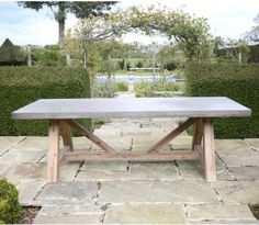 Roma Polished Concrete Outdoor Dining Table - Jo Alexander images ideas from Home Table Ideas Concrete Outdoor Furniture, Concrete Outdoor Dining Table, Concrete Dining Table, Concrete Bench, Concrete Garden, Outdoor Dining Set, Patio Dining, Patio Table, Garden Furniture