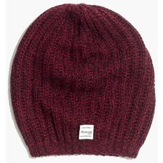 MADEWELL Softest Ribbed Beanie ($40) ❤ liked on Polyvore featuring accessories, hats, marled wine, saggy beanie, beanie hats, bear hat, slouchy hat and ribbed beanie hat