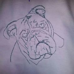 Embroidered bulldog t shirt in metalic thread