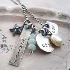 hand stamped mothers shabby chic jewelry.. hand stamped grandma necklace.. beach jewelry... personalized handstamped rustic necklace
