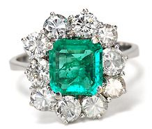 Diamond Cluster Ring with 1.5c Emerald
