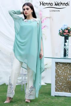 Green Sequinned Embroidered Top & Embroidered Trouser Outfit – Henna Mehndi