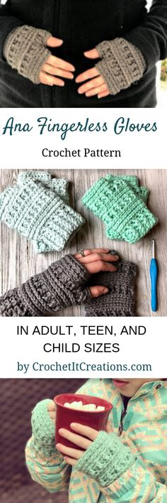 Crochet Projects Ideas Crochet Fingerless Gloves Pattern by Crochet It Creations - Make the Ana Fingerless Gloves Crochet Pattern in 3 sizes: adult, teen, and child. Perfect for texting or typing in a chilly office. Crochet Fingerless Gloves Free Pattern, Fingerless Mitts, Crochet Mittens, Knitted Gloves, Crochet Beanie, Crochet Hand Warmers, Crochet Poncho, Crochet Stitches, Crochets En Crochet