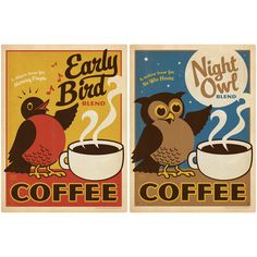 A 2 piece coffee shop wall decal set that brightens the walls of your home or business. Made in the USA. These retro wall graphics look amazing displayed on their own or with your vintage decor. Wall decals include Early Bird Coffee and Night Owl Coffee. Each polyester wall decal measures 12