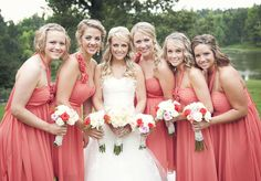 coral bridesmaids dresses.