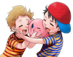 Lucas and Ness of Earthbound can't get enough of Kirby!