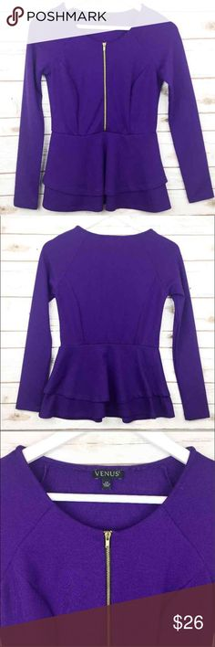 """VENUS Royal Purple Peplum Layered Sexy VENUS Royal Purple Peplum Layered Sexy Top Beautifully structured career Top with a sexy zippered front / convert from office to nighttime  Extra Small - TTS Very flattering and comfortable Fabric content is 73% polyester 23% rayon and 4% spandex 15.5"""" bust 13"""" waist 24"""" long  Thank you for looking and please check out the rest of my closet. Venus Tops Blouses"""
