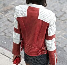 Awesome red and white leather jacket (find your perfect leather garments at www.bluegold.nl)