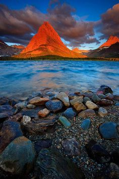 Sunset Peak, Glacier National Park, Montana      ✯ ♥ ✯ ♥  image credit:   http://funnyanimalpicturescat.com/  ✯ ♥ ✯ ♥  click the pin to watch the 5 minute video at http://snow.energygoldrush.com  ✯ ♥ ✯ ♥  #AmbitEnergy #orange #energygoldrush