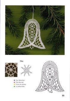Crochet Snowflake Pattern, Crochet Snowflakes, Crochet Motif, Crochet Lace, Christmas Tree Decorations To Make, Christmas Bells, Christmas Themes, Christmas Ornaments, Bobbin Lacemaking