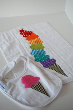 Rainbow Ice Cream Cone Bib and Burp Cloth set by kakabaka on Etsy, $23.00