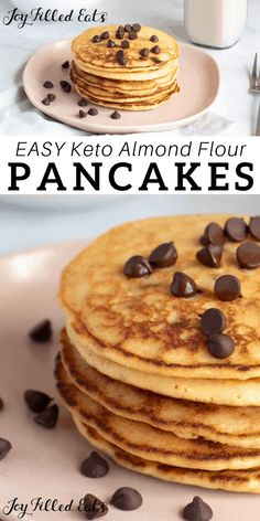 Almond Flour Pancakes - Keto, Low Carb, Gluten-Free, Grain-Free, Sugar-Free, Dairy-Free, THM S - 5 Ingredients! these are the perfect way to kick start your day. Light and fluffy pancakes made with blanched almond flour, almond milk and a sprinkle of sugar-free chocolate chips! #lowcarb #lowcarbrecipes #lowcarbdiet #keto #ketorecipes #dairyfree #ketodiet #thm #trimhealthymama #glutenfree #grainfree #glutenfreerecipes #recipes #brunch #breakfastrecipes #5ingredient #ketorecipes
