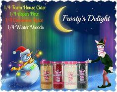 Pink Zebra Recipes- Frosty's Delight.  Featuring: Farm House Cider, Aspen Pine, Cinnamon Spice, Winter Woods