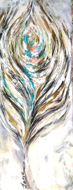 SOLD Large Abstract Feather Painting   Original by lanasfineart on Etsy - Lana Moes art Convo me at lanasart.etsy.com