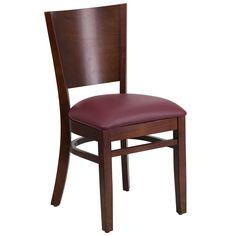 Flash Furniture Lacey Series Solid Back Walnut Wooden Restaurant Chair - Burgundy Vinyl Seat [XU-DG-W0094B-WAL-BURV-GG]