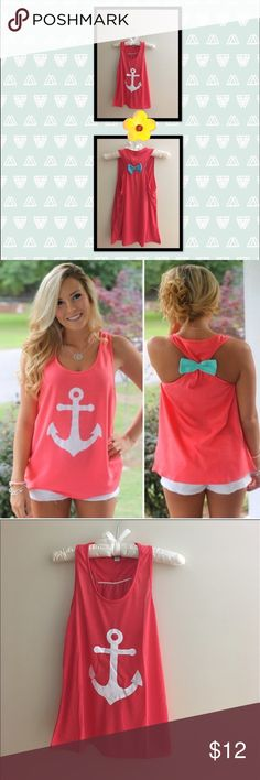 ⚓️ Pretty in Pink Anchor Tank Cute nautical tank for the summer! ⚓️ Tops Tank Tops