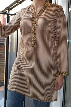 Striped Brown Pakistani Kurti