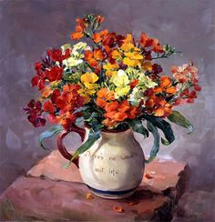 """""""Wallflowers"""" - from the flower painting by Anne Cotterill. Giclée print on canvas, stretched on a wooden frame. Size 30.5cm x 30.5 (12"""" x 12""""). From an original oil painting. Limited edition of 50. Supplied with certificate of authenticity signed on behalf of the Estate of Anne Cotterill. The painting depicts red and orange Wallflowers (Erysimum) in a Torquay Potter jug with the motto """"There's no wealth but life""""."""