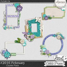 #2016 February - Cluster Pack by JenE to coordinate with #2016 February by Connie Prince. Includes 5 cluster elements, saved in PNG format. Shadows ARE included. Scrap for hire / others ok.
