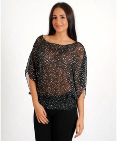 Woman's Sheer Stylish Pattern Black & White Poke Dot Pattern Blouse - TOPS - CLOTHING