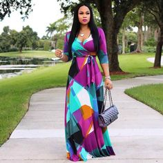 Fadzeco African Dresses For Women Long Dress Long Sleeve Nigerian Traditional Clothing Floral Print Wedding And Party Outfits. Maxi Wrap Dress, Maxi Dress With Sleeves, The Dress, Maxi Dresses, Slit Dress, Long Dresses, Shweshwe Dresses, Cheap Dresses, Dress Long