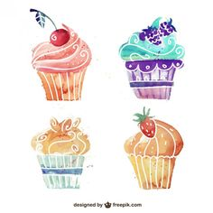 Watercolor Cupcake Vectors, Photos and PSD files Cupcake Vector, Cupcake Logo, Cupcake Art, Cupcake Illustration, Cupcake Painting, Fruit Painting, Pintura Cupcake, Watercolor Logo, Watercolor Paintings